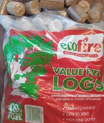 Ecofire wood briquettes value fuel logs.