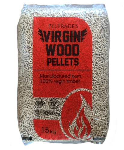 The new product in question. A single Virign Wood Pellets 15kg bag.