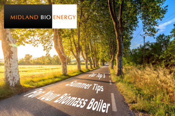 Midland Bio Energy, summer country road, in the afternoon sun with top 5 tips for your biomass boiler, written in the tarmac.