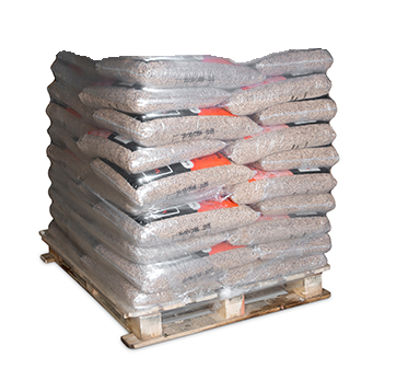 750kg pallet of mbe premium wood pellets on a pallet.