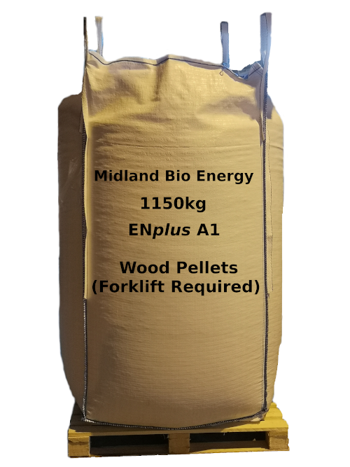 bulk bag 1150kg wood pellets on pallet, EN plus A1.